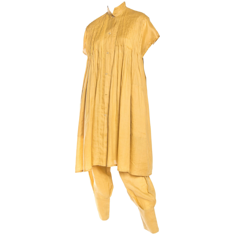 1980S ISSEY MIYAKE Mustard Yellow Linen Tunic & Pants Ensemble