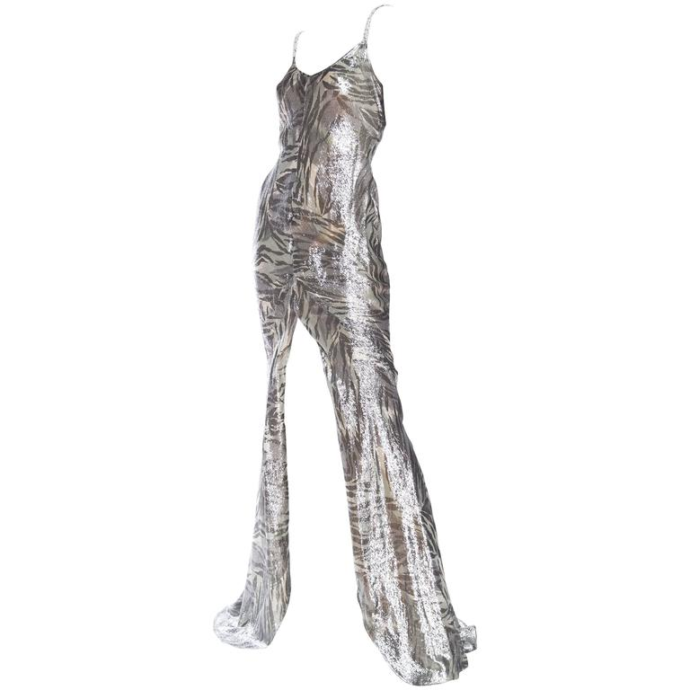 Backless Roberto Cavalli Trained Silver Lamé Gown