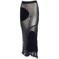 1990S COMME DES GARCONS Black Rayon & Silk Sheer Chiffon Bias Maxi Skirt With V