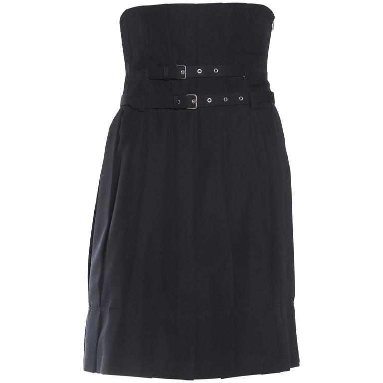 Comme Des Garcons High Waisted Pleated Punk Kilt Skirt