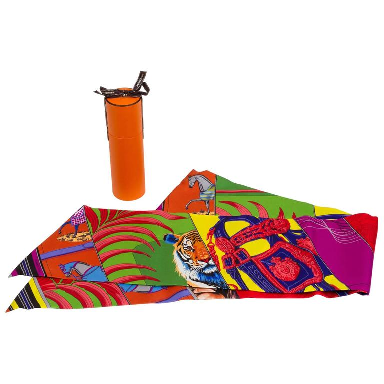 """Hermes New in Box Silk """" Carre' en Carres"""" Maxi Twilly Scarf"""