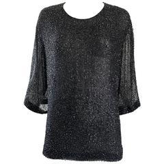 Vintage BIll Blass For Saks 5th Ave Plus Size 20 Black Silk Chiffon Beaded Top