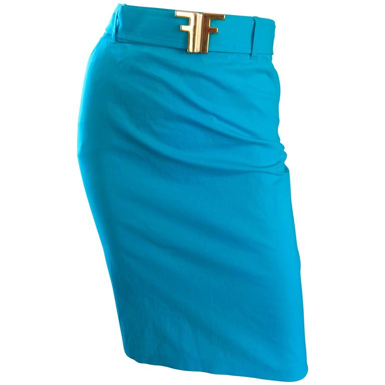 1990s Fendi By Karl Lagerfeld Vintage Turquoise Teal Blue Cotton Skirt w FF Belt 1