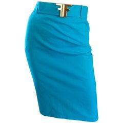 1990s Fendi By Karl Lagerfeld Vintage Turquoise Teal Blue Cotton Skirt w FF Belt