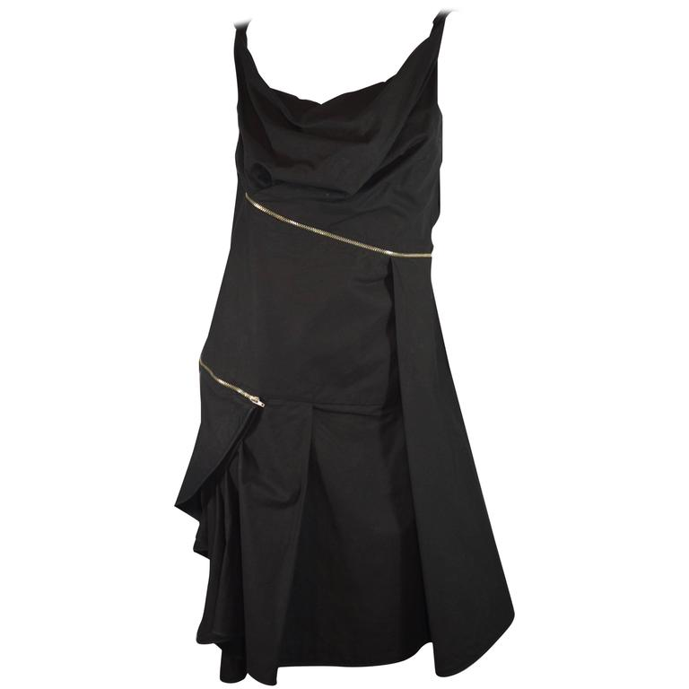Hussein Chalayan Black Zippered Mini Sun Dress