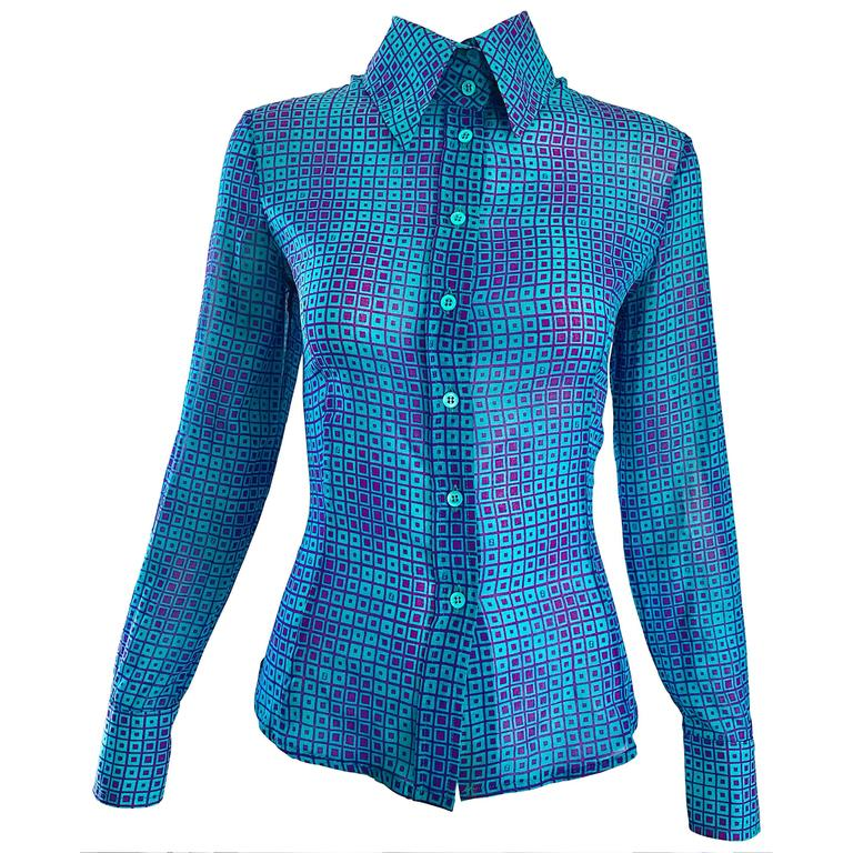 1990s Fendi by Karl Lagerfeld Turquoise + Purple Op Art Silk Chiffon Blouse Top 1