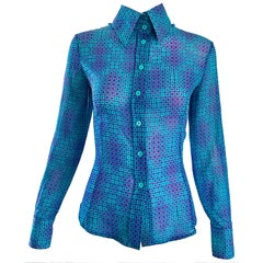 1970s Fendi by Karl Lagerfeld Turquoise + Purple Op Art Silk Chiffon Blouse Top