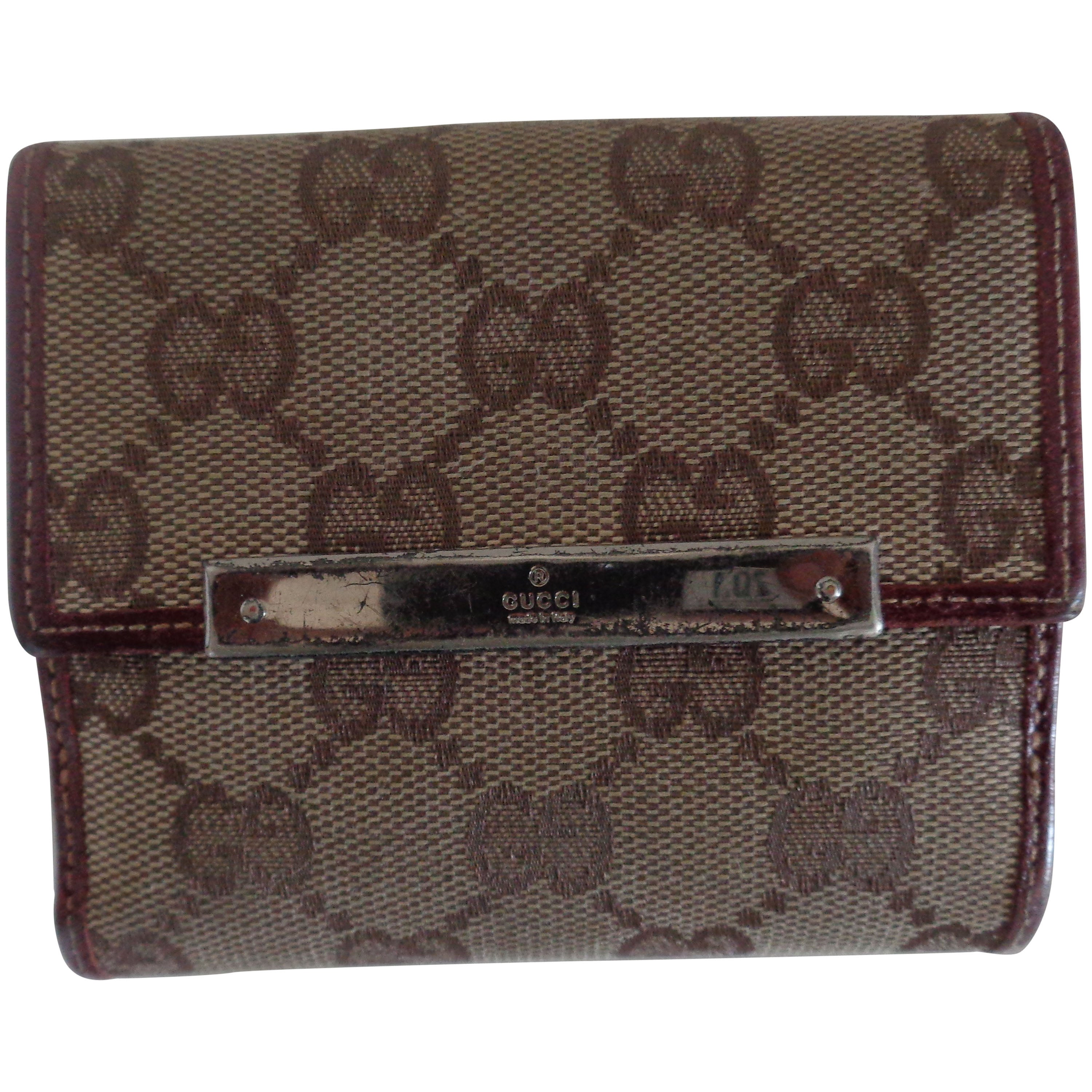 2b0637bc4544 Gucci monogram Canvas Bordeaux Leather Wallet at 1stdibs