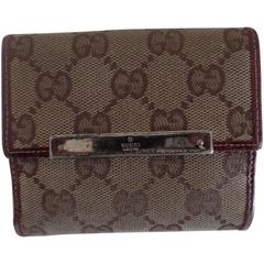 Gucci monogram Canvas Bordeaux Leather Wallet