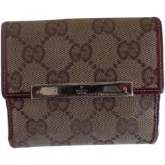 Gucci monogram Canvas Bordeaux Leather Wallet