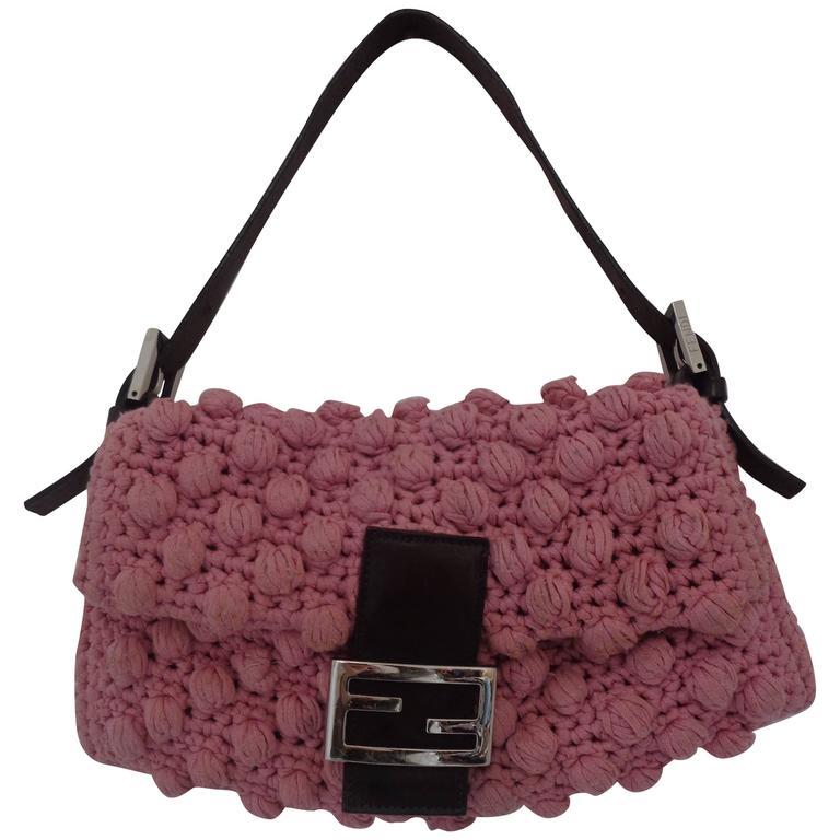 Fendi Pink Wool Brown Leather Baguette Bag