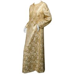 Saks Fifth Avenue Opulent Gold Brocade Caftan Gown ca 1970
