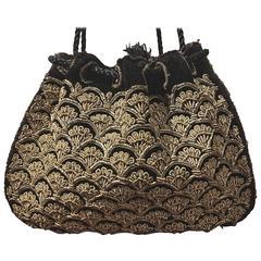 Antique Zardosi Black Gold Metallic Thread Handbag Bag Purse Drawstring Deco