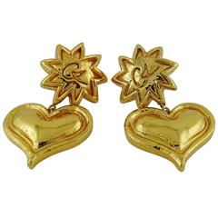 Christian Lacroix Vintage Gold Toned Sun and Heart Dangling Earrings