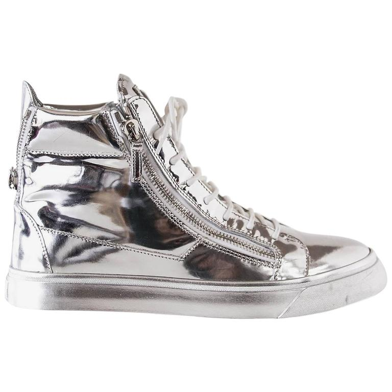 Giuseppe Zanotti Men's Silver Mirror High Top Sneaker w/ Zip Detail 43 / 10
