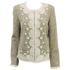 St. John Fringed Tweed Jacket With Embroidery and Beadwork