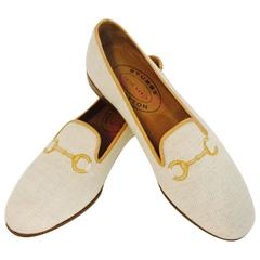 Stubbs & Wootton Palm Beach Canvas Slippers With Horsebit Embroidery