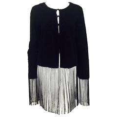 Giorgio Armani Black Suede Jacket With Whipstitched Design and Long Fringe Hem