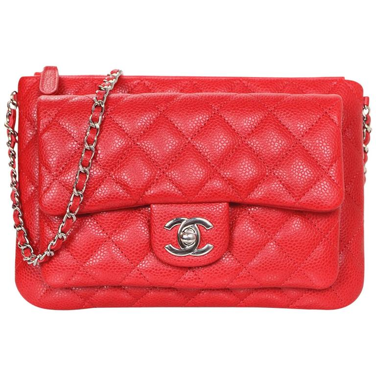 f60292a7bc638b Chanel Red Quilted Caviar Leather Daily Zippy Crossbody Bag For Sale ...