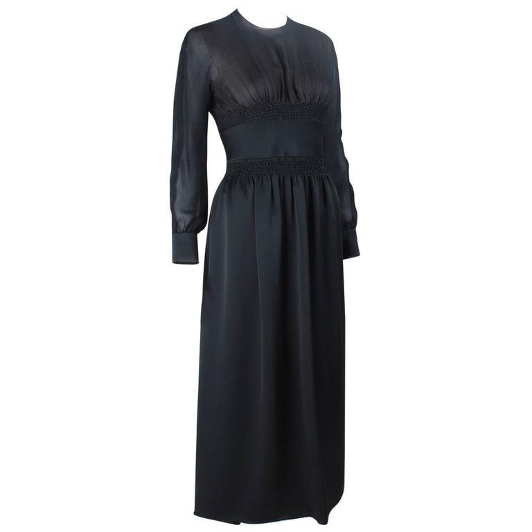 1970s Valentino Haute Couture vintage silk black dress For Sale