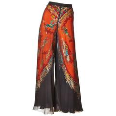 Hermes Chiffon and Patterned Silk Palazzo Pants