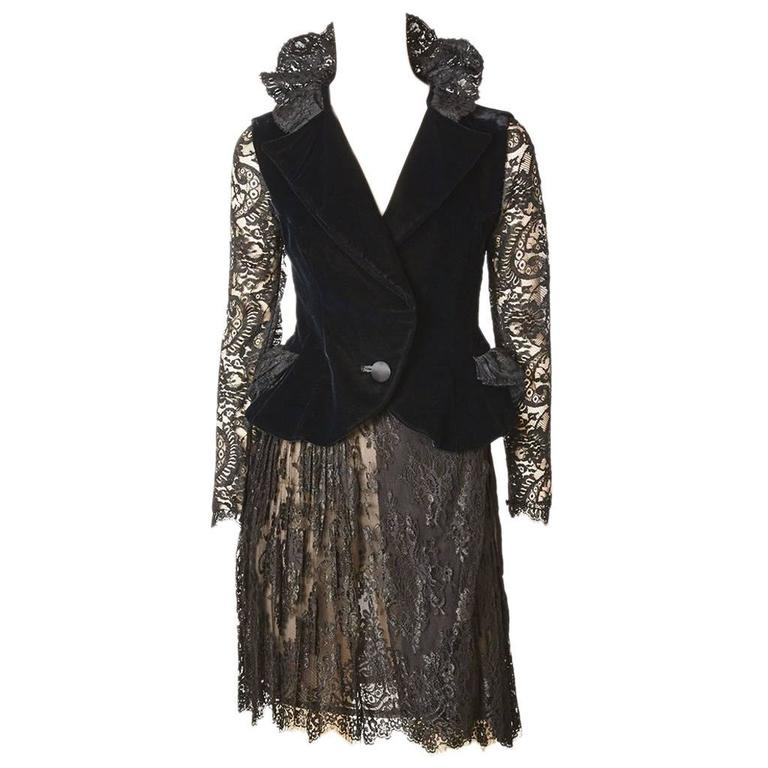 Christian Lacroix Lace and Velvet Cocktail Ensemble