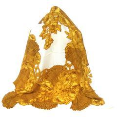 Chanel Luxurious golden silk rose scarf ca 1990s
