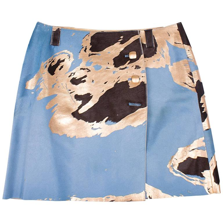 Chanel Calfskin Skirt - light blue/brown/gold  1