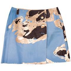 Chanel Calfskin Skirt - light blue/brown/gold