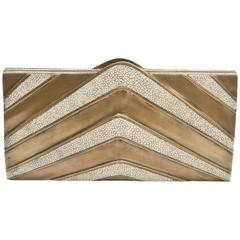 R&Y Augousti Vintage Shagreen and Brass Sculptural Clutch