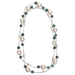 Sterling Silver and Malachite Beaded Chain Strand Necklace  / SAT. SALE