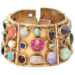 Gold Plated Over Sterling Silver and Semi Precious Stones Cuff Bracelet / SALE