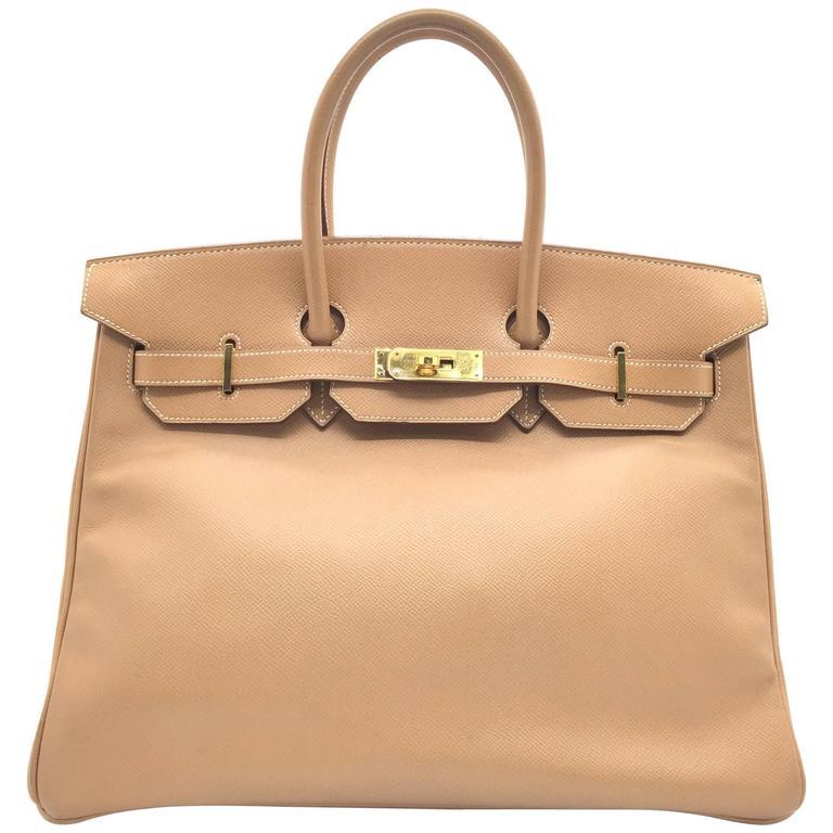 Hermes Birkin 35 Tabac Camel Vgc Leather Ghw Top Handle
