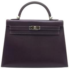 Hermes Kelly 32 Raisin Courchevel Leather SHW Top Handle Bag