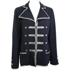 Chanel Black Military with Silver Metallic Thread Embroidered Blazer