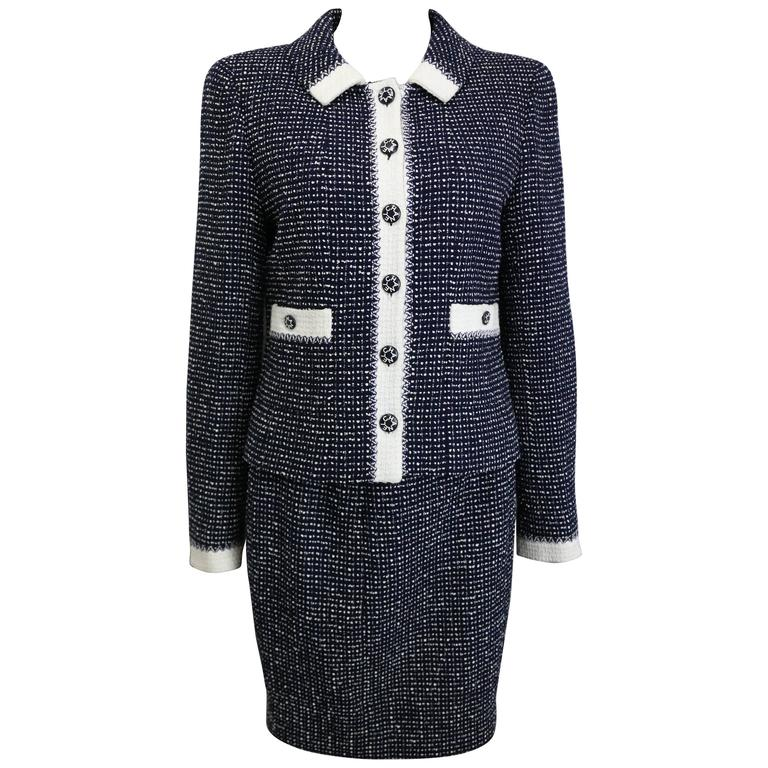 Chanel White and Navy Tweed Jacket and Skirt Ensemble For Sale at ...