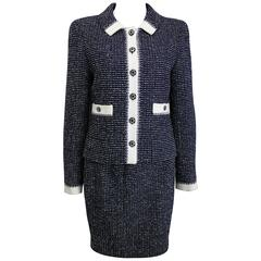 Chanel White and Navy Tweed Jacket and Skirt Ensemble