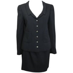 90s Chanel Little Black Jacket and Skirt Suit with Gripoix Clover Buttons