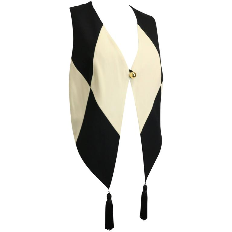 Moschino Cheap and Chic Black and White Harlequin Waistcoat with Tassels For Sale