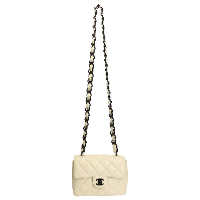 Chanel Vanilla Quilted Lambskin Leather with Black Vinyl Chain Mini Flap Bag