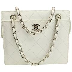 Chanel White Quilted Caviar Leather Silver Chain Straps Handbag