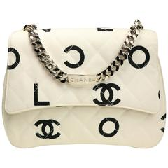 Chanel White Quitled with Black Logo Print Canvas Flap Bag