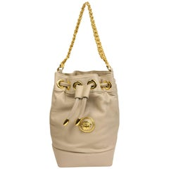 Gianni Versace Medusa Light Grey Leather Drawstring Mini Bucket Handbag
