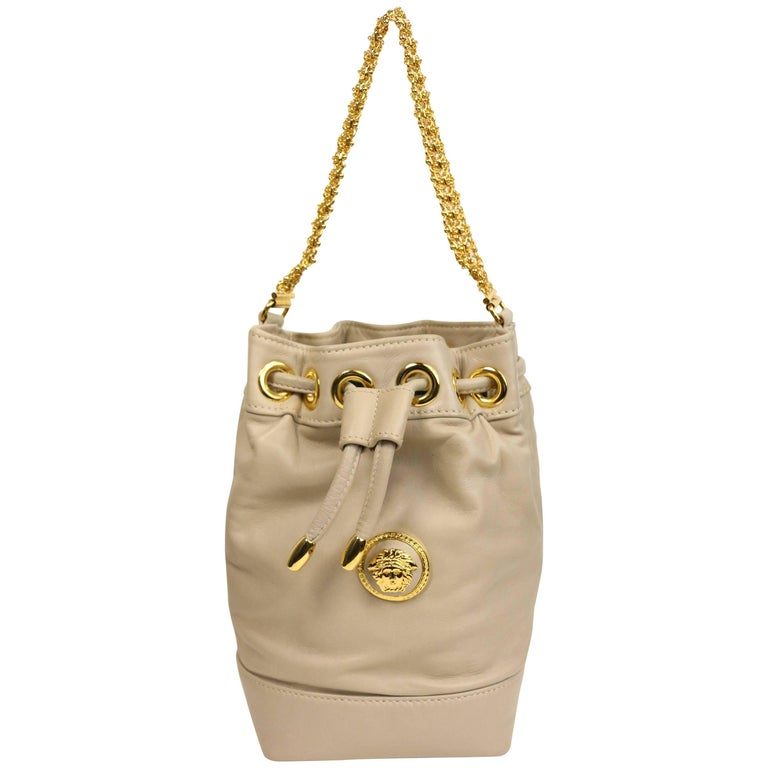 f20f7223fdd1 Gianni Versace Medusa Light Grey Leather Drawstring Mini Bucket Handbag For  Sale at 1stdibs