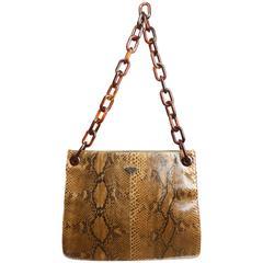 Prada Python with Tortoiseshell Shoulder Strap Tote Bag