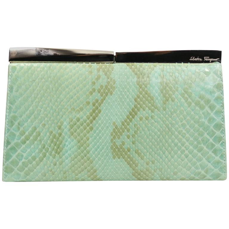 Salvatore Ferragamo Green Python Clutch  For Sale