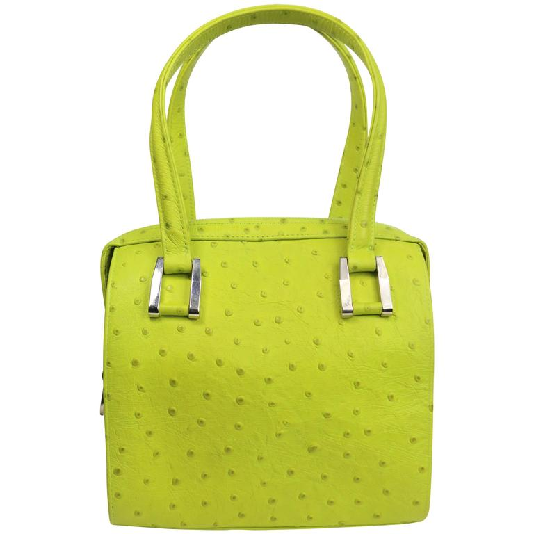 Charles Jourdan Green Ostrich Leather Handbag BXPXiJpAO