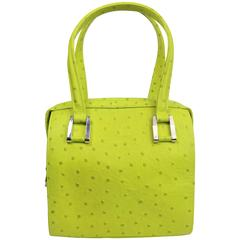 Charles Jourdan Green Ostrich Leather Handbag