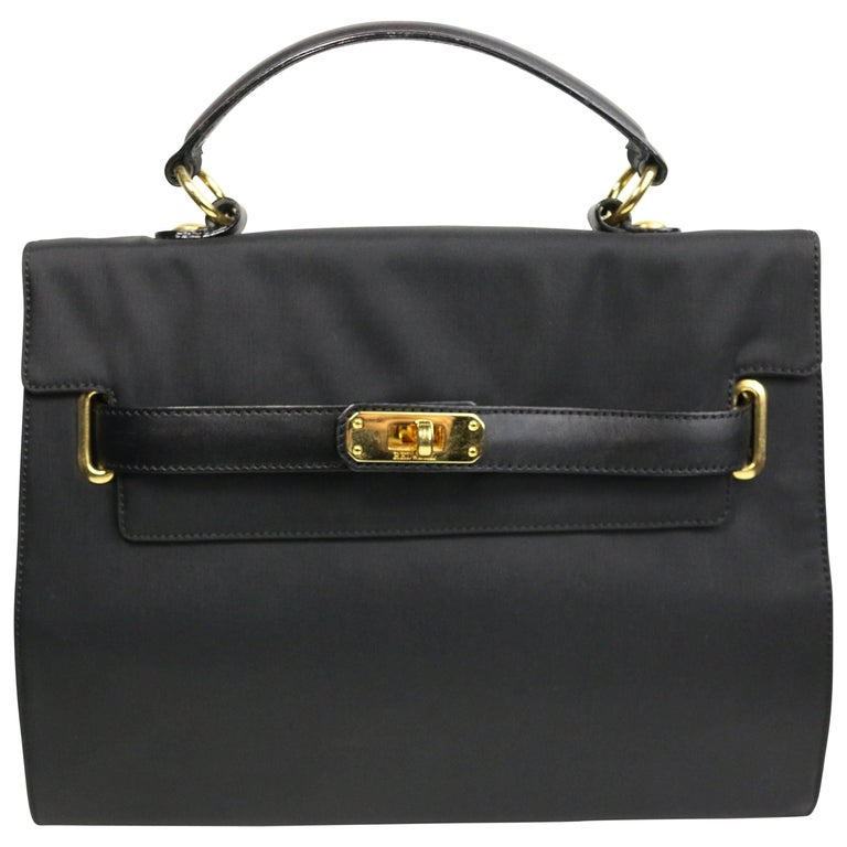 Moschino Black Nylon Kelly Bag For Sale