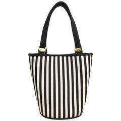 Salvatore Ferragamo Black and White Stripe bucket handbag with Strap